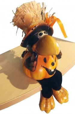 Corvo Halloween Rockfeller in terracotta con zampe snodabili per sederlo