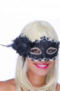 maschera di carnevale stile veneziano domino nera