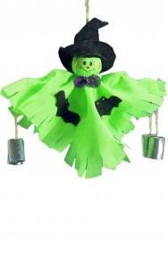 Allestimento Halloween decorazione strega con sonagli da appendere cm 30