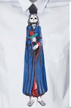 Cravatta finta Halloween Horror in latex con elastico.Colore blu.