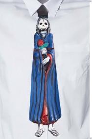 Cravatta finta con elastico in lattice Halloween.Blu con morte