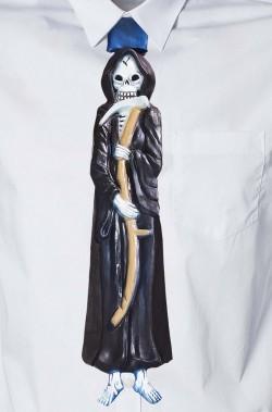 Cravatta finta Halloween Horror in latex con elastico.Colore nero.