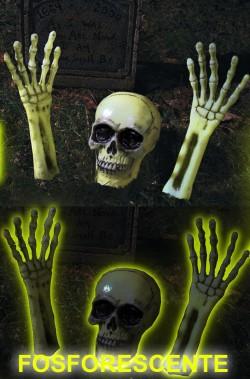 Decorazione Halloween da giardino:scheletro che esce dal terreno fosforescente