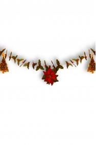 Decorazione natalizia festone ghirlanda stella di natale e vischio