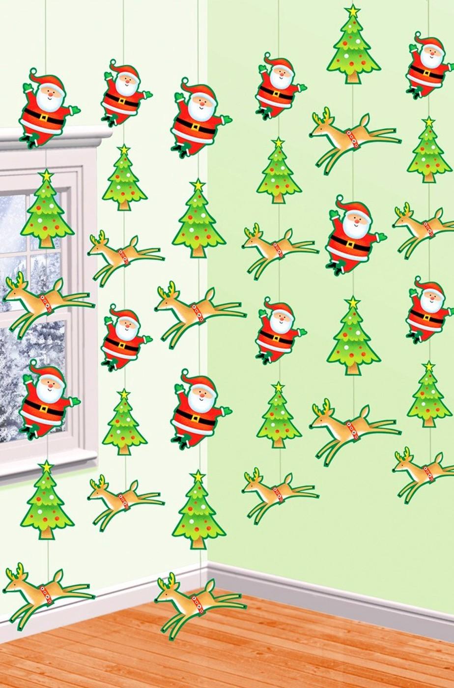decorazione natalizia  o festone con alberi babbi e renne di natale