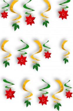 Decorazione natalizia spirali metallizzate con stelle di Natale e foglie di Vischio