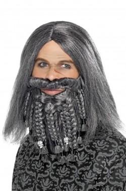 Parrucca uomo grigia lunga pirata lusso con baffo e barba
