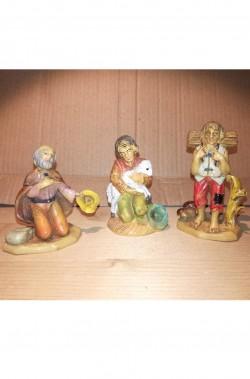 Statuine del presepe 7cm gruppo mendicante pastore taglialegna