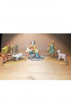 Statuine del presepe 7cm gruppo due pastori ed il pollaiolo