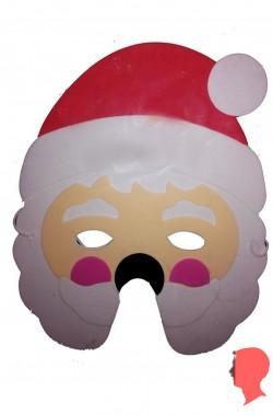 maschera babbo natale con barba lunga liscia bianca e cappello