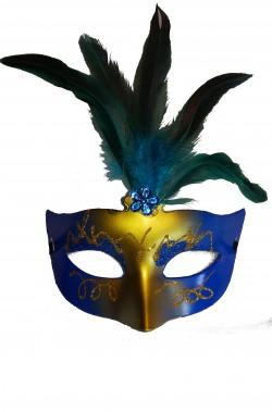 maschera di carnevale stile veneziano con piume