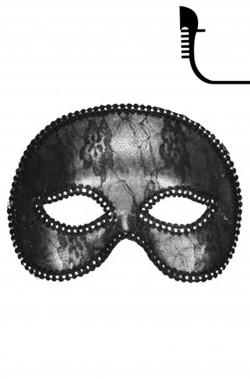 maschera carnevale stile veneziano mezzo viso grigia