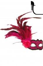 Maschera stile veneziano color rosa con piume