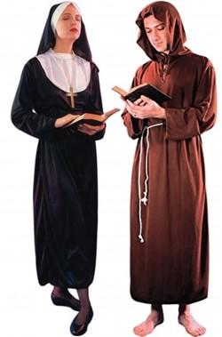 Coppia di costumi di Carnevale suora e monaco