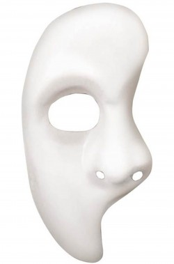 Maschera phantom bianca a mezzo viso verticale fantasma dell'opera