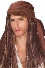 Parrucca Jack Sparrow con bandana pirati dei Caraibi