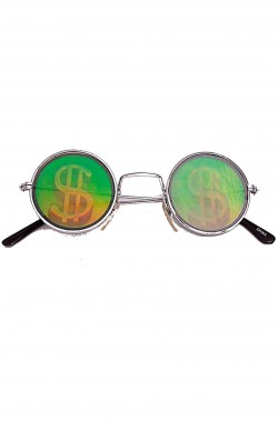 Occhiali anni 70 con dollaro olografico