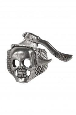 Anello con teschio ed ali in metallo misura regolabile