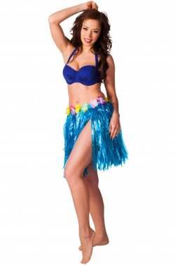 Gonna hawaiana blu 45 cm
