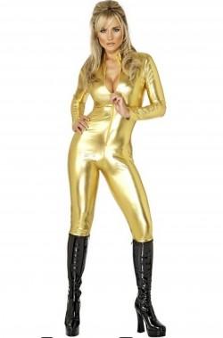 Tuta oro in poliestere lucido elasticizzato