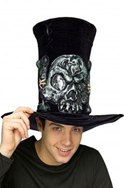 Cappello cilindro uomo con teschio in rilievo