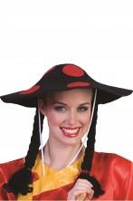 Cappello da fungo nero e rosso o da cinese (con trecce) cm 35 circa