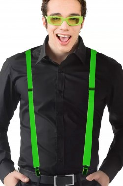 Set fluo bretelle e occhiali verdi