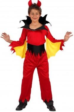 Costume halloween da bambino diavolo rosso con le ali