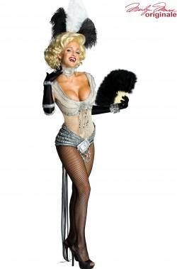 Costume Marilyn Monroe con body, piuma, girocollo e guanti