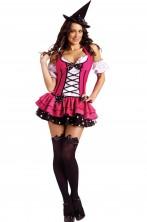 Costume da Strega adulta rosa con corpetto