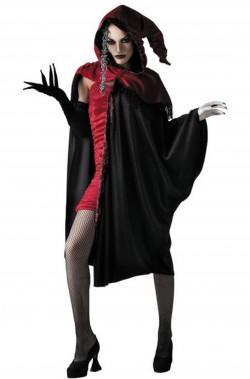 Mantello da adulto con cappuccio nero e rosso