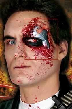Protesi trucco cyborg in lattice professionale DA TRUCCARE con sangue