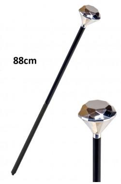 Bastone pappone con testa a diamante finto in plastica