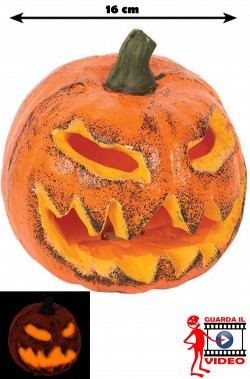 Allestimento halloween Zucca con luci a LED 22cm