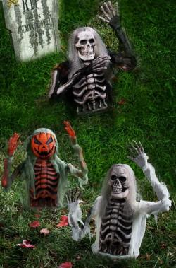 Decorazione Halloween da giardino:set di tre scheletri