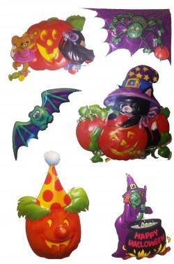 Decorazione Halloween vetrofania 6 personaggi in 3D