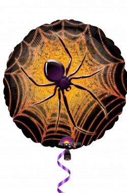 Palloncino Halloween prismatico da gonfiare a elio 45cm ragno