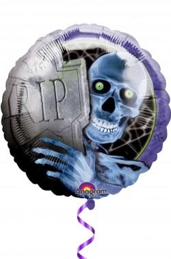 Palloncino Halloween prismatico da gonfiare a elio 45cm scheletro