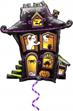 Palloncino Halloween grande casa stregata da gonfiare a elio
