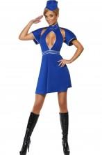 Costume donna sexy hostess azzurra