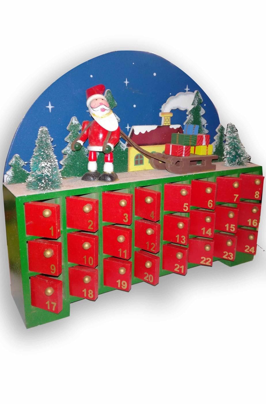 Calendario dell'Avvento Natale perpetuo riutilizzabile in stoffa e legno