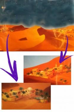 Sfondo per presepe palestinese in carta con deserto e cielo