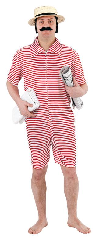costume da bagno intero a righe rosse