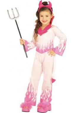 Costume Halloween Bambina Diavola Diavolessa Diavoletta rosa