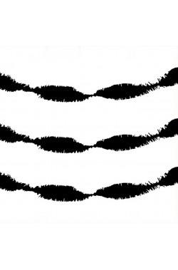 Ghirlanda in carta crespa nera con frangia da entrambi i lati 24 metri