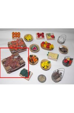 Accessori presepe fruttivendolo:cassetta di funghi grande realizzata a mano