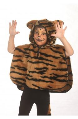 Mantellina pelouche con cappuccio Tigre