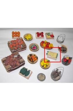 Accessori presepe fruttivendolo:cesto pannocchie granturco mais fatto a mano