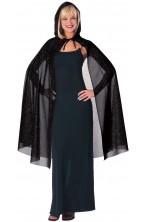 Mantello con cappuccio nero glitter 114cm
