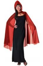 Mantello con cappuccio rosso glitter 114cm